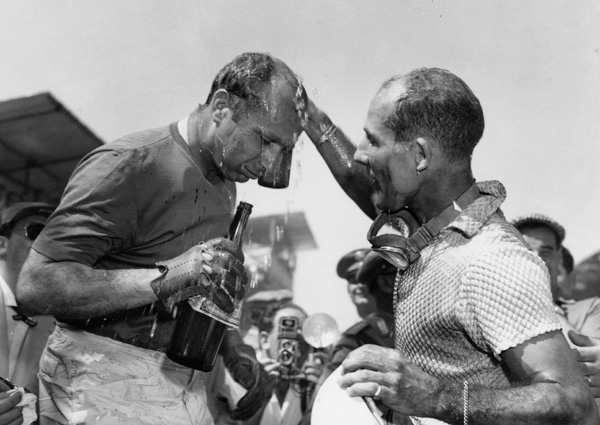 Fangio & Moss - Pescara 57 (c)Associated Press Collection at the International Motor Raacing Research Center at Watkins Glenn